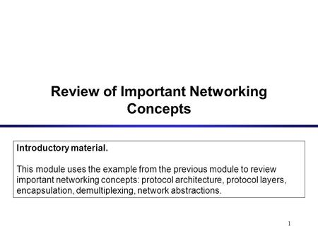 1 Review of Important Networking Concepts Introductory material. This module uses the example from the previous module to review important networking concepts: