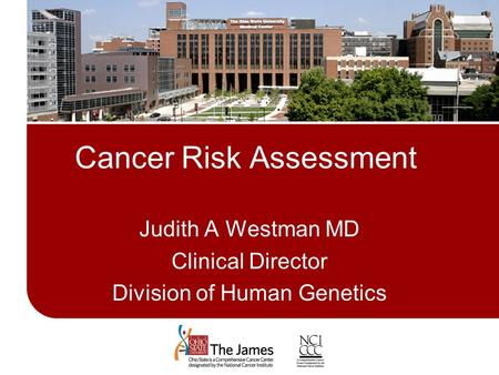 Cancer Risk Assessment Judith A Westman MD Clinical Director Division of Human Genetics.
