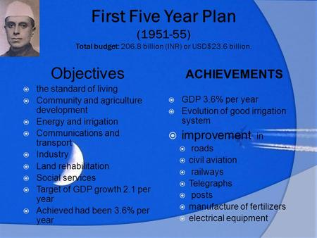 First Five Year Plan ( ) Total budget: 206