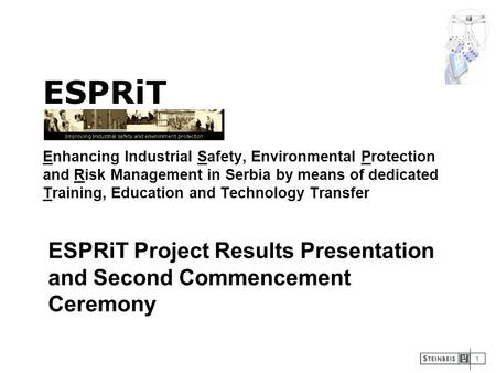 1 ESPRiT Enhancing Industrial Safety, Environmental Protection and Risk Management in Serbia by means of dedicated Training, Education and Technology Transfer.