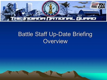 Battle Staff Up-Date Briefing Overview. Battle Staff Up-Date Brief Overview Order of brief Current situation up-date Intelligence summary Mission (s)