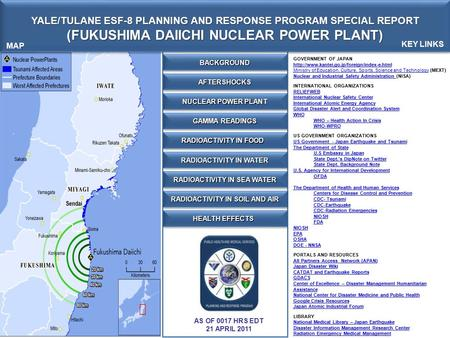 YALE/TULANE ESF-8 PLANNING AND RESPONSE PROGRAM SPECIAL REPORT (FUKUSHIMA DAIICHI NUCLEAR POWER PLANT) YALE/TULANE ESF-8 PLANNING AND RESPONSE PROGRAM.