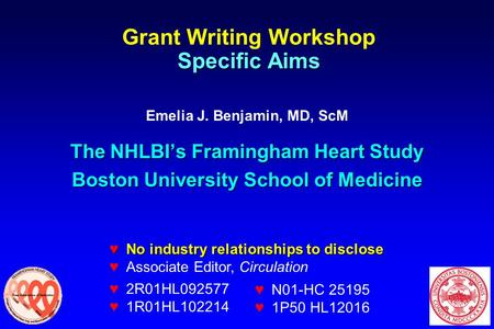 Specific Aims Grant Writing Workshop Specific Aims Emelia J. Benjamin, MD, ScM The NHLBI's Framingham Heart Study Boston University School of Medicine.