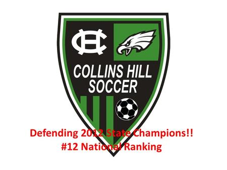 Defending 2012 State Champions!! #12 National Ranking.