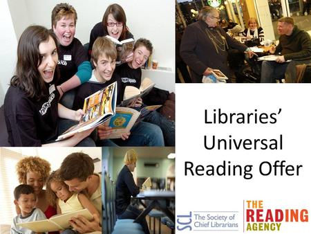 Libraries' Universal Reading Offer. Reading is changing 23% of 9-16 year olds now prefer reading electronically E-books account for 14% of publishers'