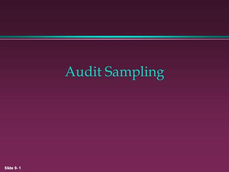 Audit Sampling 1.