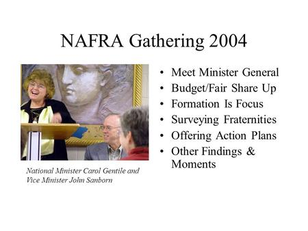 NAFRA Gathering 2004 Meet Minister General Budget/Fair Share Up Formation Is Focus Surveying Fraternities Offering Action Plans Other Findings & Moments.