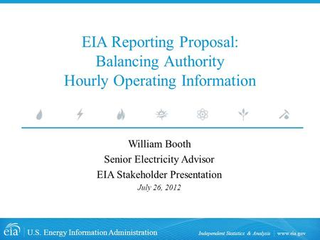 Www.eia.gov U.S. Energy Information Administration Independent Statistics & Analysis EIA Reporting Proposal: Balancing Authority Hourly Operating Information.