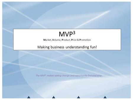MVP 3 Market, Volume, Product, Price & Promotion Making business understanding fun! The MVP 3 makes seeing change and opportunity fast and easy.