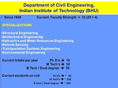 Department of Civil Engineering, Indian Institute of Technology (BHU) Since 1949Current Faculty Strength = 33 (29 + 4) SPECIALIZATIONS Structural Engineering.