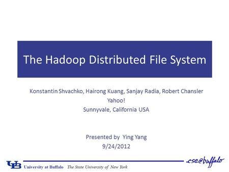 The Hadoop Distributed File System