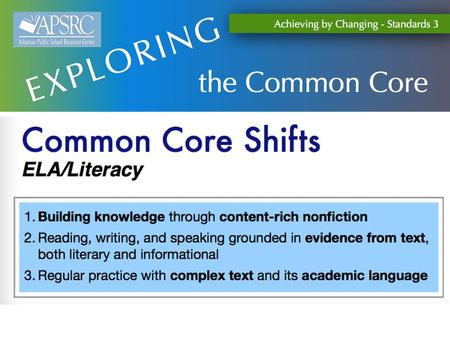 Literacy Shifts Goal: Develop a deep understanding of the key shifts required by the CCSS for English Language Arts and Literacy.. Building.