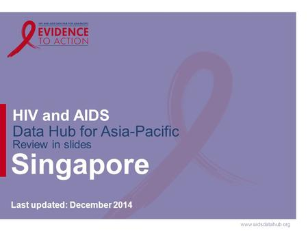 Www.aidsdatahub.org HIV and AIDS Data Hub for Asia-Pacific Review in slides Singapore Last updated: December 2014.
