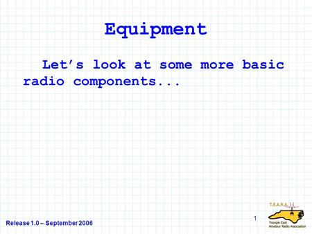 Equipment Let's look at some more basic radio components...
