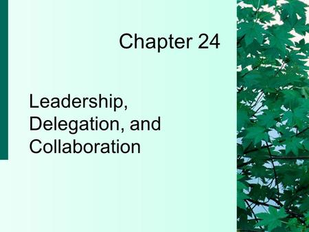 Chapter 24 Leadership, Delegation, and Collaboration.