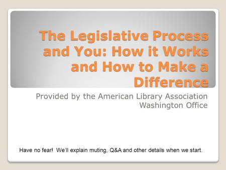 The Legislative Process and You: How it Works and How to Make a Difference Provided by the American Library Association Washington Office Have no fear!