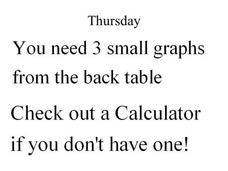 Thursday Section 3-1: Graphing Systems of Equations Pages 126-132 in textbook.