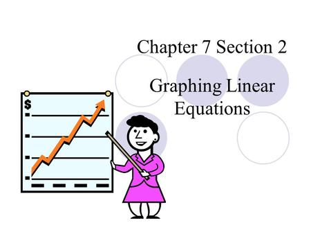 Chapter 7 Section 2 Graphing Linear Equations. Learning Objective Graph linear equation by plotting points. Graph linear equation in the form of ax +