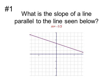 What is the slope of a line parallel to the line seen below? m= -1/3 #1.