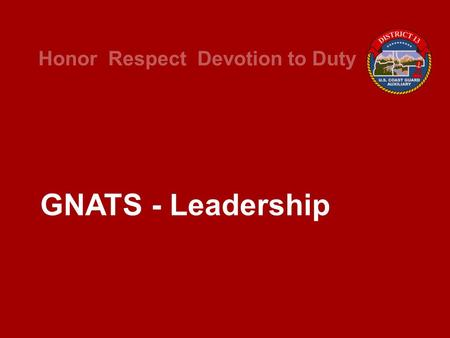 Honor Respect Devotion to Duty GNATS - Leadership.