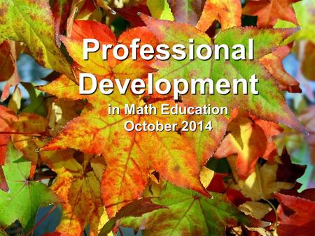 Professional Development in Math Education October 2014.