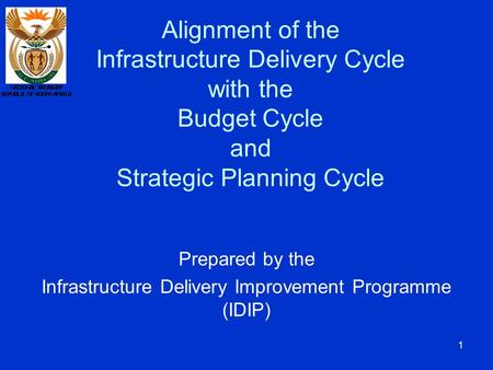 1 Alignment of the Infrastructure Delivery Cycle with the Budget Cycle and Strategic Planning Cycle Prepared by the Infrastructure Delivery Improvement.