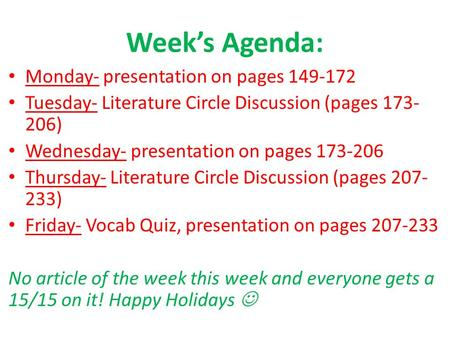 Week's Agenda: Monday- presentation on pages 149-172 Tuesday- Literature Circle Discussion (pages 173- 206) Wednesday- presentation on pages 173-206 Thursday-