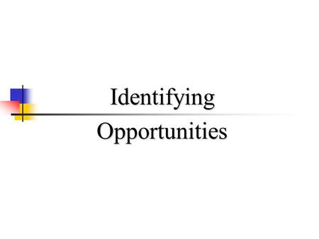 IdentifyingOpportunities. Entrepreneurial Process Identify and Evaluate the Opportunity Develop the Business Plan Determine Resources Required Manage.