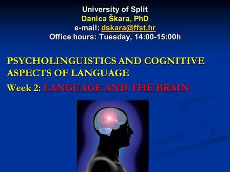 University of Split Danica Škara, PhD   Office hours: Tuesday, 14:00-15:00h PSYCHOLINGUISTICS AND COGNITIVE ASPECTS.