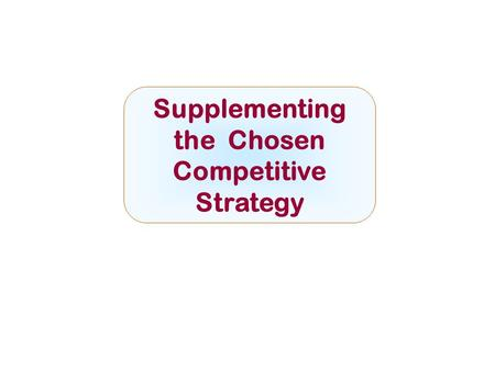 Supplementing the Chosen Competitive Strategy McGraw-Hill/IrwinCopyright © 2008 by The McGraw-Hill Companies, Inc. All rights reserved.