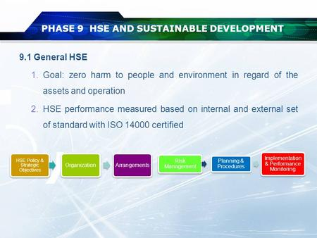 9.1 General HSE 1.Goal: zero harm to people and environment in regard of the assets and operation 2.HSE performance measured based on internal and external.