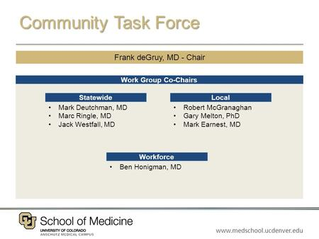 Www.medschool.ucdenver.edu Community Task Force Work Group Co-Chairs Frank deGruy, MD - Chair Mark Deutchman, MD Marc Ringle, MD Jack Westfall, MD Statewide.