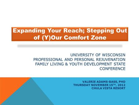 UNIVERSITY OF WISCONSIN PROFESSIONAL AND PERSONAL REJUVENATION FAMILY LIVING & YOUTH DEVELOPMENT STATE CONFERENCE VALERIE ADAMS-BASS, PHD THURSDAY NOVEMBER.