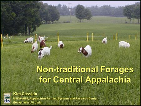 Non-traditional Forages for Central Appalachia Kim Cassida USDA-ARS, Appalachian Farming Systems and Research Center Beaver, West Virginia.