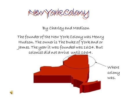 The founder of the New York Colony was Henry Hudson. The owner is The Duke of York and or James. The year it was founded was 1624. But colonist did not.