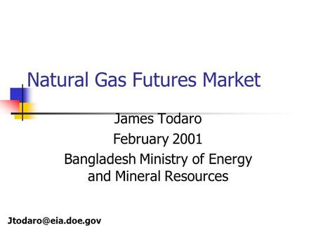 Natural Gas Futures Market James Todaro February 2001 Bangladesh Ministry of Energy and Mineral Resources
