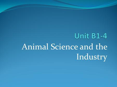 Animal Science and the Industry. Identifying Career Opportunities in the Animal Science Industry.