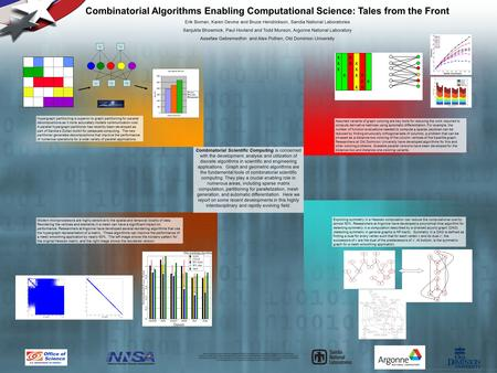 Combinatorial Scientific Computing is concerned with the development, analysis and utilization of discrete algorithms in scientific and engineering applications.