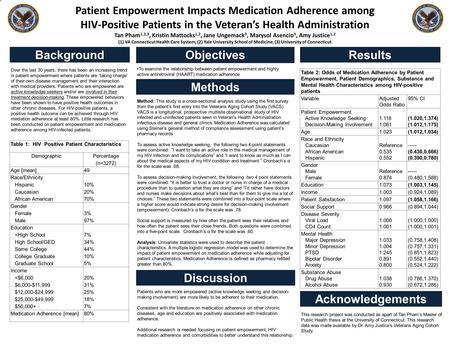 Patient Empowerment Impacts Medication Adherence among HIV-Positive Patients in the Veteran's Health Administration Tan Pham 1,2,3, Kristin Mattocks 1,2,