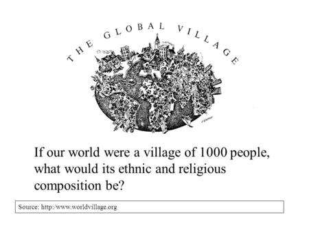 If our world were a village of 1000 people, what would its ethnic and religious composition be? Source: