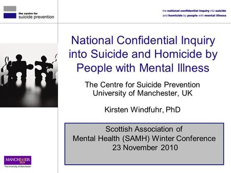 National Confidential Inquiry into Suicide and Homicide by People with Mental Illness The Centre for Suicide Prevention University of Manchester, UK Kirsten.