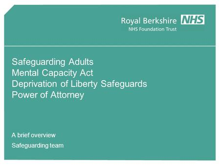 A brief overview Safeguarding team