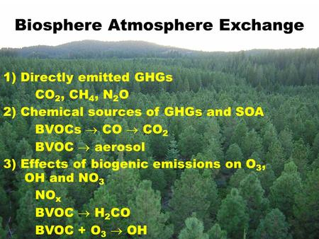 Biosphere Atmosphere Exchange 1) Directly emitted GHGs CO 2, CH 4, N 2 O 2) Chemical sources of GHGs and SOA BVOCs  CO  CO 2 BVOC  aerosol 3) Effects.