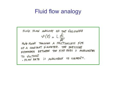 Fluid flow analogy. Power and energy in an inductor.