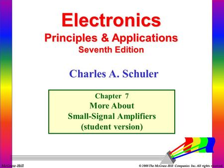 McGraw-Hill © 2008 The McGraw-Hill Companies Inc. All rights reserved. Electronics Principles & Applications Seventh Edition Chapter 7 More About Small-Signal.