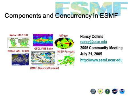 Components and Concurrency in ESMF Nancy Collins  2005 Community Meeting July 21, 2005  GMAO Seasonal.