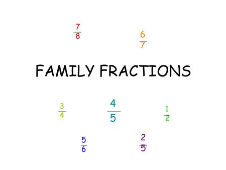 FAMILY FRACTIONS 4545 3434 1212 5656 2525 7878 6767.