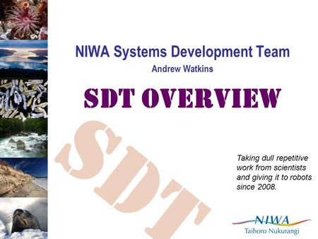 SDT NIWA Systems Development Team Andrew Watkins SDT Overview Taking dull repetitive work from scientists and giving it to robots since 2008.