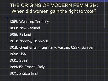 THE ORIGINS OF MODERN FEMINISM: When did women gain the right to vote? 1869: Wyoming Territory 1893: New Zealand 1906: Finland 1913: Norway, Denmark 1918: