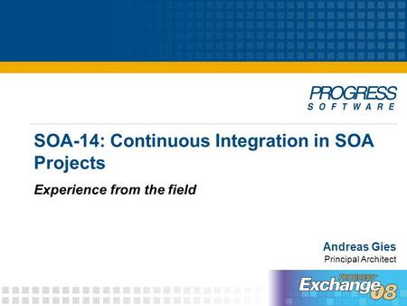SOA-14: Continuous Integration in SOA Projects Experience from the field Andreas Gies Principal Architect.